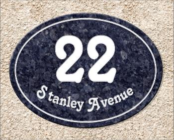 Granite house number sign